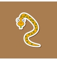 paper sticker on stylish background Kids toy snake vector image vector image