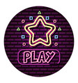 play star button neon video game wall vector image vector image