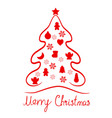 red merry christmas tree elements card icon vector image vector image