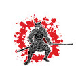 samurai warrior with sword weapon ready to fight vector image vector image