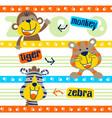 set happy animals cartoon vector image