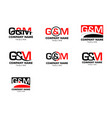 set initial letter g m logo template vector image vector image