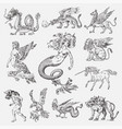 set mythological animals mermaid minotaur vector image vector image