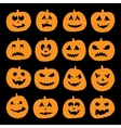 Set of 16 halloween pumpkins vector image