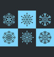 set of 6 isolated snowflakes six-pointed and vector image vector image