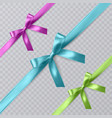 set of realistic pink blue and green vector image vector image