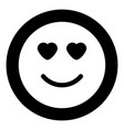 smile with heart eyes icon black color in circle vector image vector image