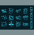 space set icons blue glowing neon style vector image