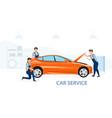 team mechanics servicing a vehicle vector image
