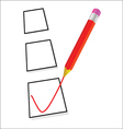 test ticking with red pencil vector image vector image