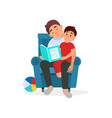 tired father reading a book to his son parenting vector image vector image
