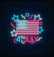 usa independence day glowing neon sign with usa vector image
