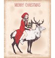 Vintage Christmas card with girl on deer vector image vector image