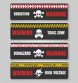 warning tape with skulls vector image vector image