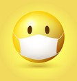 yellow emoji emoticon with medical mask on face vector image vector image