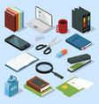 3d office equipment isometric set books folders vector image