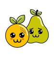 kawaii happy and sad orange and pear icon vector image