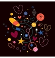 abstract art with cute hearts 2 vector image vector image