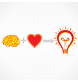addition of brain and heart create new idea vector image vector image