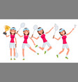 badminton young woman player girl athlete vector image