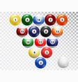 billiard balls isolated glossy shiny balls vector image vector image
