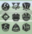 black vintage tennis labels set vector image vector image