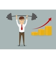 Businessman holding heavy dumbbell above head vector image