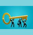 businessmen carrying golden key vector image vector image