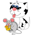 Cartoon cat and mouse vector image vector image