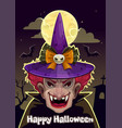 cartoon halloween greeting card with creepy witch vector image vector image