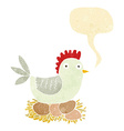 cartoon hen on eggs with speech bubble vector image vector image
