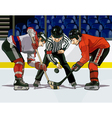 cartoon hockey throwing the puck vector image vector image