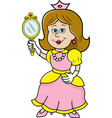 cartoon princess holding a mirror vector image vector image