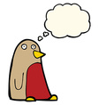 cartoon robin with thought bubble vector image vector image