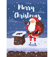 cartoon style of Santa with bag of gifts vector image