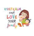 cartoon young mother with her cute children vector image