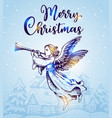 christmas angel flies over houses vector image vector image
