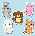 cute kawaii farm animals stickers set vector image vector image