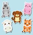 Cute kawaii farm animals stickers set vector image