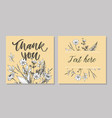cute thank you script card flowers letter text vector image vector image
