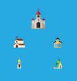 flat icon building set of architecture catholic vector image