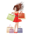 Girl in red with shopping bags vector image vector image