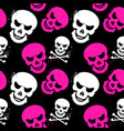 girlish seamless pattern with skulls vector image