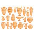 greek vases ancient decorative pots isolated