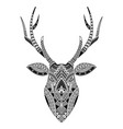 head deer tattoo ornamented with maori style vector image