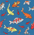 japanese carps koi seamless pattern fishes vector image vector image