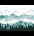 landscape with misty green forest trees vector image vector image