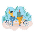 man and woman ride on bicycle vector image vector image