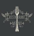 menu for restaurant with fork and angels vector image