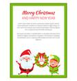 merry christmas santa and wreath vector image vector image
